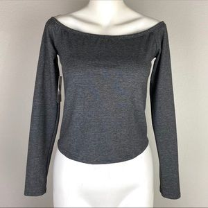 NWT BP Cropped Gray Off Shoulder Top Medium